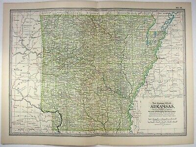 Original 1902 Map of Arkansas by The Century Company. Antique