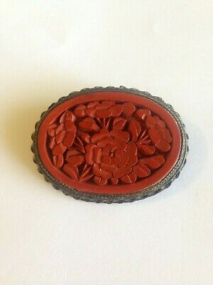 Antique Vintage China Export Cinnabar Lacquer Deep Carved Flowers Brass Brooch