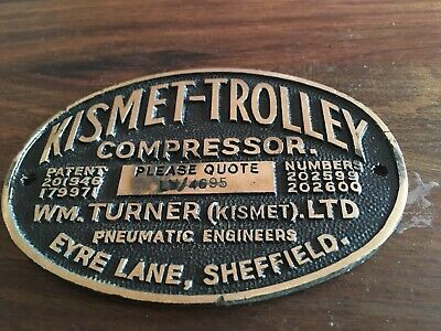 Vintage industrial sign KISMET - TROLLEY  from Kirkstall Forge