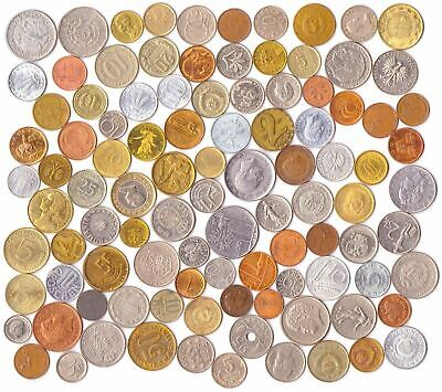 Lot Of 100 Different (2/3 Pound) Foreign World Coins Collection + Coin Bag!