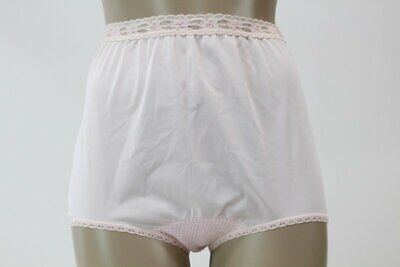 Vtg Pink Nylon Granny Panty full Coverage Brief Panties Greenco Maid  USA 6 L