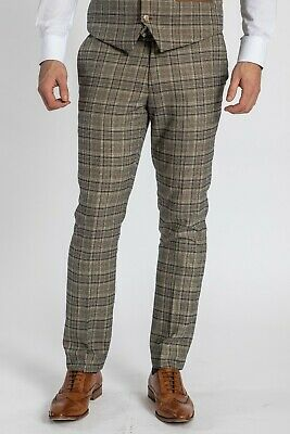 Mens Slim Fit Check Trousers Smart Casual Marc Darcy Work Formal Suit Pants