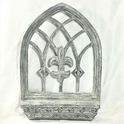 Cathedral Window Wall Decor ~ Small Shelf ~ Fleur De Lis Detail ~ Weathered