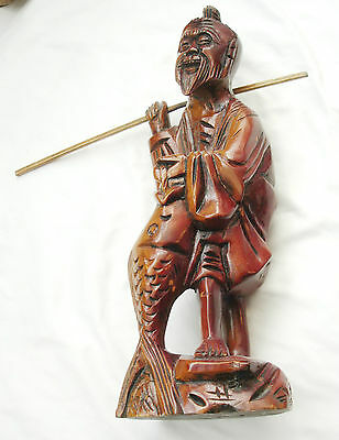 Antique Chinese Oriental Boxwood Carved Fisherman Figurine Late 19th c