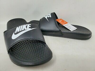 NEW! Nike Men's Benassi JDI Slide Black/White #343880  D21D rr
