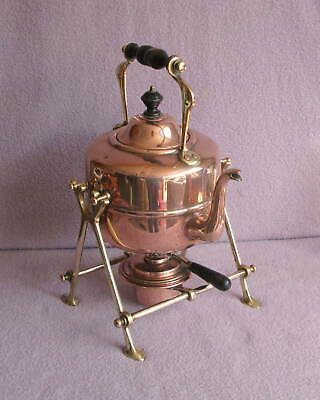 Antique Victorian Arts & Crafts Copper and Brass Spirit Kettle