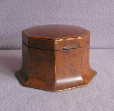 Antique French 19th Century Burr Maple Wood Inlaid Octagonal Box