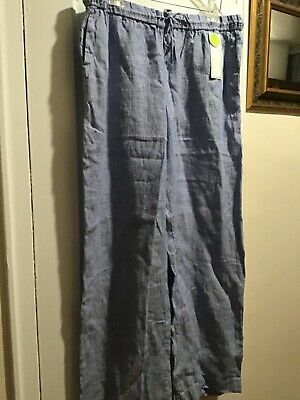 Charter Club Classic Fit Blue Stripe Straight Leg 100%Linen Pants Womens Sz XL