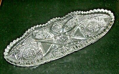 """Stunning Antique American Brilliant ABP - 11 3/4"""" Sawtooth Celery or Relish Dish"""