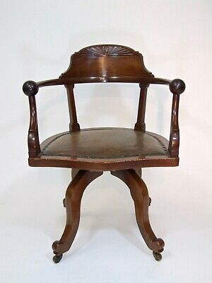Fine Antique Mahogany Aesthetic Arts & Crafts Office Library Swivel Desk Chair