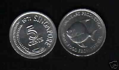 Singapore 5 Cents Km8 1971 Fao Fish Unc Large Un Common Currency Money Coin