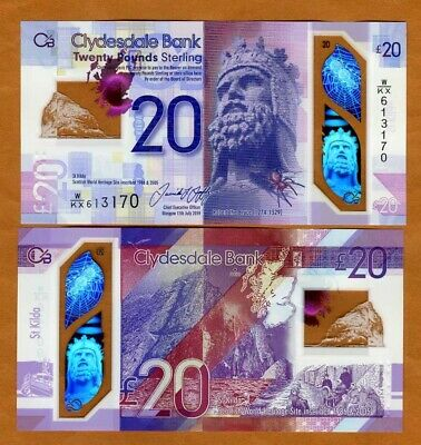 Scotland Clydesdale Bank, 20 pounds 2019 (2020) P-New POLYMER UNC > Robert Bruce