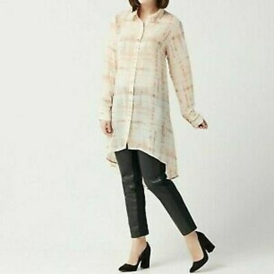 Womens Lisa Rinna Collection Printed Button Front Long Sleeve Tunic Size Medium