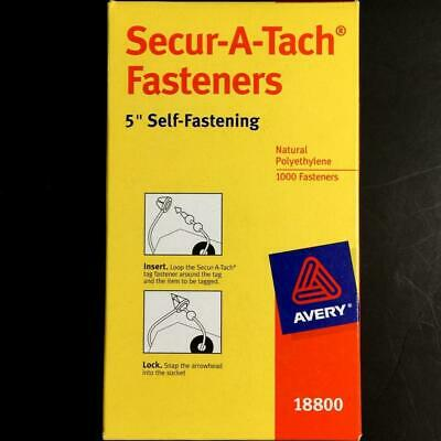"Avery® Secur-A-Tach Tag Fasteners 1,000 Weatherproof 5"" Long  NEW Secure Attach"