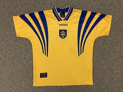 ADIDAS Sweden Jersey Soccer Futbol SFF SVENSKA Vintage Official Yellow Men's XL