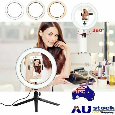 "10"" Phone Selfie LED Ring Light Stand Dimmable For Makeup Video Shooting Live AU"