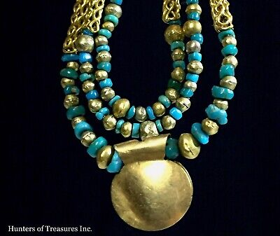 Ancient Pre Columbian Small Turquoise & 21-22k Gold Beads Chavin Indian Necklace