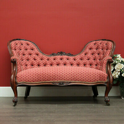 Antique English Mahogany Double Ended Chaise Sofa Button Back Lounge
