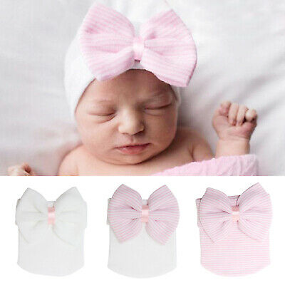New Baby Girls Infant Striped Soft Hat with Bow Cap Newborn Beanie Diomand