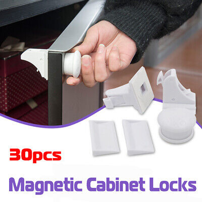 30x Magnetic Cabinet Safety Locks Child Baby Proof Cupboard Drawer Door