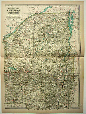 Original 1897 Map of Northern & Eastern New York State by The Century Company