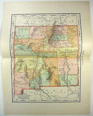 Original 1895 Map of New Mexico by Rand McNally. Antique