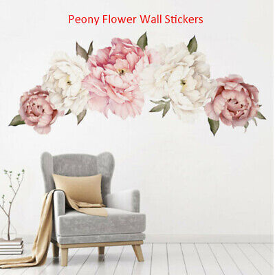 Peony Flowers Pattern Wall Sticker Art Decal Home Living Room Bedroom Decor