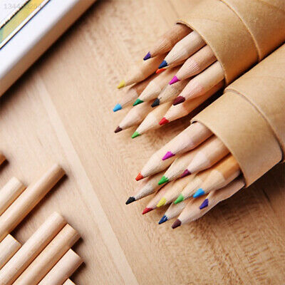 EDF6 12 Colors Cylinder Colored Pencils Wooden Colored Pencils Art Wood Colorful