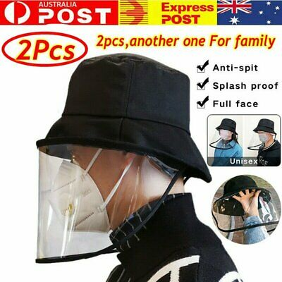 2Pcs Fisherman Cap + Protective Clear Mask Saliva-proof Dust-proof Sun Visor Hat