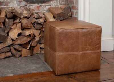 Leather Foot Stool / Stool / Pouffe 100% Genuine Leather UK Handmade