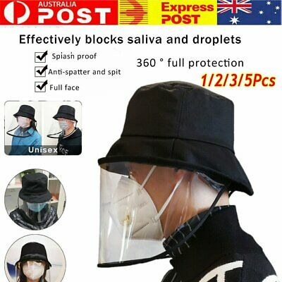 Fisherman Cap + Protective Clear Mask Saliva-proof  Anti-spatter and Spit Hat AU