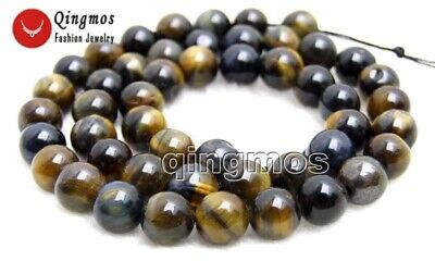 """8mm Round Blue Natural Tiger's-eye Gemstone Beads for Jewelry Making Strand-15"""""""