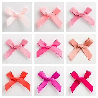 Pink Satin Ribbon Bows Small 3cm Pre Tied Wedding For Card Making Sewing Crafts