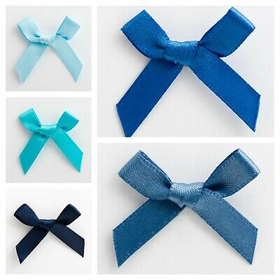 Blue Satin Ribbon Bows Small 3cm Pre Tied Wedding For Card Making Sewing Crafts