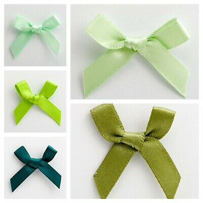 Green Satin Ribbon Bows Small 3cm Pre Tied Wedding For Card Making Sewing Crafts