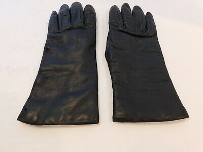 Talbots Ladies Black Leather Winter Gloves Cashmere Lining Size 6.5
