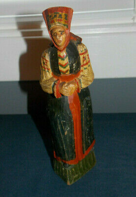 "Antique Hand Carved Wood ""Folk Art Woman"" Sculpture Made In Soviet Union! 8.5"""