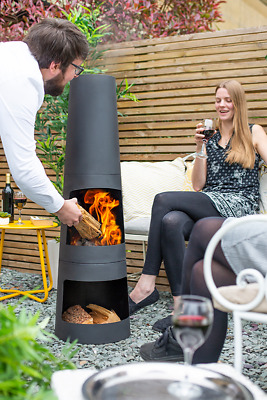 La Hacienda CIRCO Black Steel Garden Chiminea + Log Store 125cm High.