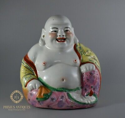 A Large Antique Handpainted Porcelain Laughing Buddha