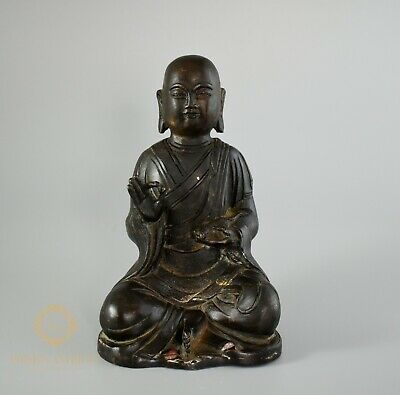 Antique Chinese Qing Dynasty Bronze Seated Buddha Holding A Rat