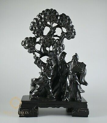 Large Antique Qing Chinese Black Stone Figures And Prunus Tree Carving