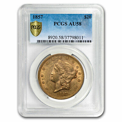 1857 $20 Liberty Gold Double Eagle AU-58 PCGS - SKU#209493
