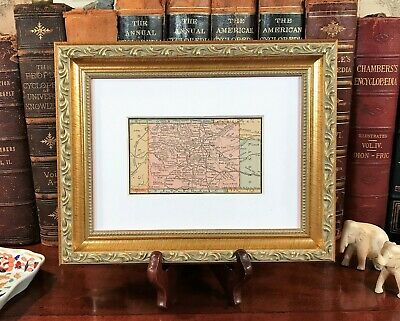 Framed Original 1886 Antique Map COLORADO Boulder Pueblo Greeley Loveland Parker