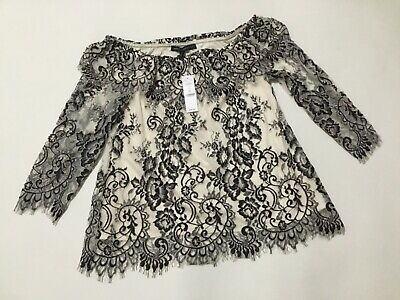 White House Black Market Blouse Black Ivory Lace Off Shoulder NWT XS OTS Top