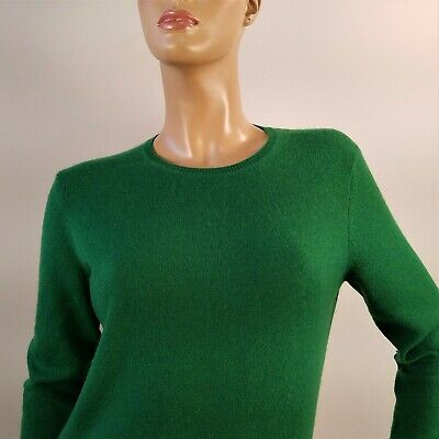 Charter Club 100% 2-ply Cashmere Sweater Green Crew Neck Size Large