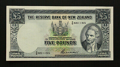 1956 New Zealand P-160b. 5 Pounds Wilson Signature