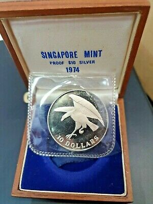 Singapore 1974 Silver $10. Proof in Box Of Issue