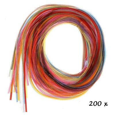 Gros Lot de 200 fils scoubidous multicolores transparents , diam. 2mm x 80 cm