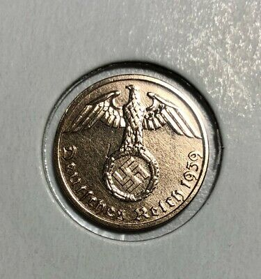 Rare WWII Nazi Germany Coin 1 Reichspfennig - Very Fine Collectable Condition