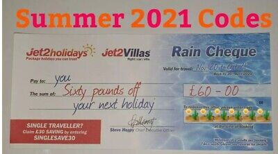1 X Jet2Holidays £60Rain Cheque voucher SUMMER 2021 CODES  AUGUST INCLUDED